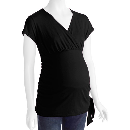 Maternity Surplice Gathered Knit Top with Tie At Waist