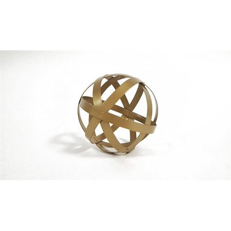 Small Gold Metal Band Decorative Sphere Featuring A Beautiful Gold
