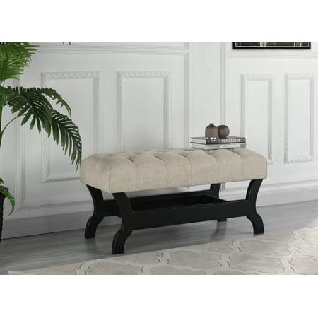 Modern Living Room Tufted Linen Accent Bench, Beige