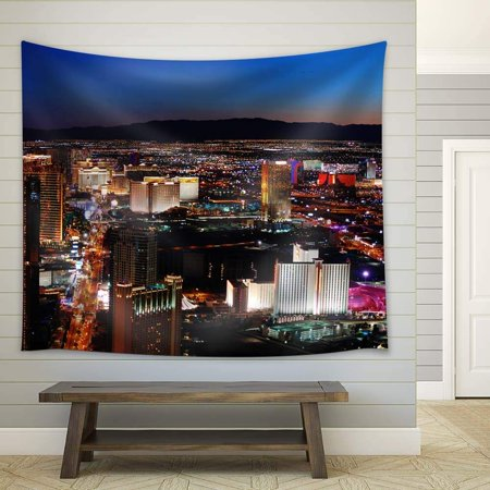 wall26 - Night View in Las Vegas - Fabric Tapestry, Home Decor - 51x60 inches - Las Vegas Decor
