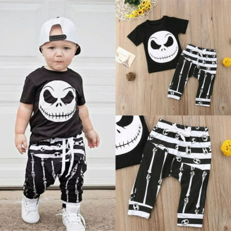 Trashy Halloween Outfits (Toddler Kids Baby Boy Halloween T-shirt Tops+Leggings Pants Outfits Set)