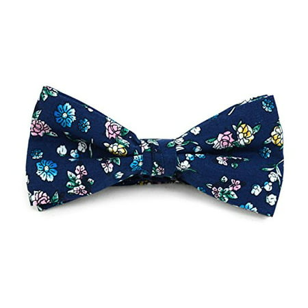 Men's Watercolor Rainbow Garden Navy Cotton Boxed Banded Bow Tie - Rainbow Bow Tie