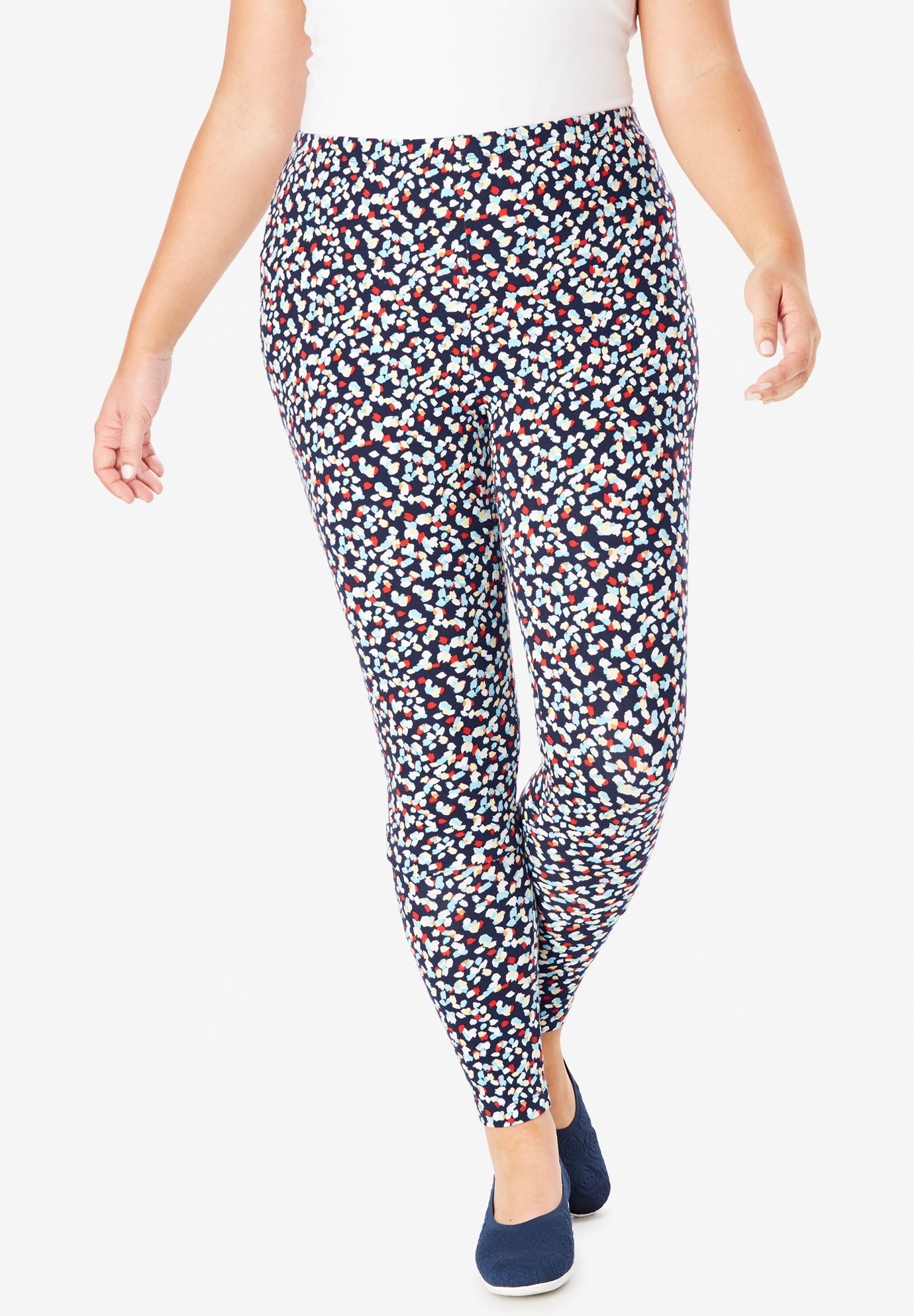 Plus Size Tall Stretch Cotton Printed Legging
