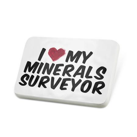 Porcelein Pin I Heart Love My Minerals Surveyor Lapel Badge   Neonblond