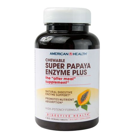 American Health Super Papaya Enzyme Plus Dietary Supplement Chewable Tablets Colostrum Plus Pineapple Chewables