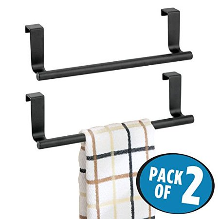 mDesign Over the Cabinet Hand Towel Bar Holder for Kitchen Storage Pack of  2 9 Matte Black