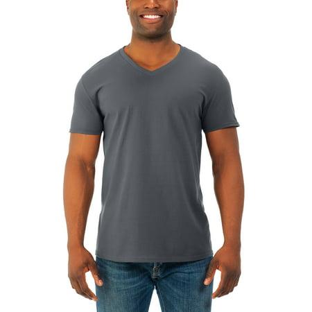 Fruit of the Loom Mens' soft short sleeve lightweight v neck t shirt, 4 pack