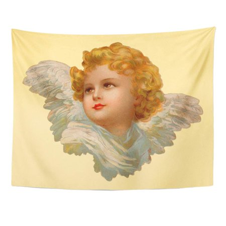 UFAEZU Victorian Christmas Angel 1899 Vintage Wings Portrait Antique Cherubs Wall Art Hanging Tapestry Home Decor for Living Room Bedroom Dorm 51x60 inch