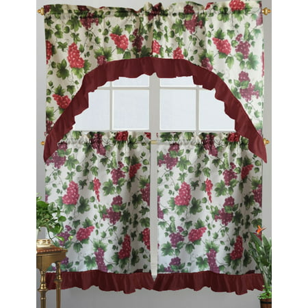 Grapes Window (Kashi Home Paula Kitchen Curtain Swag Set, Grape & Vine Printed)