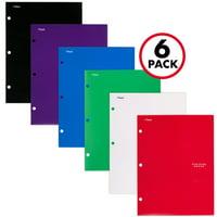 Five Star 4-Pocket Paper Folder 6 Pack, Assorted Primary Colors (38058)