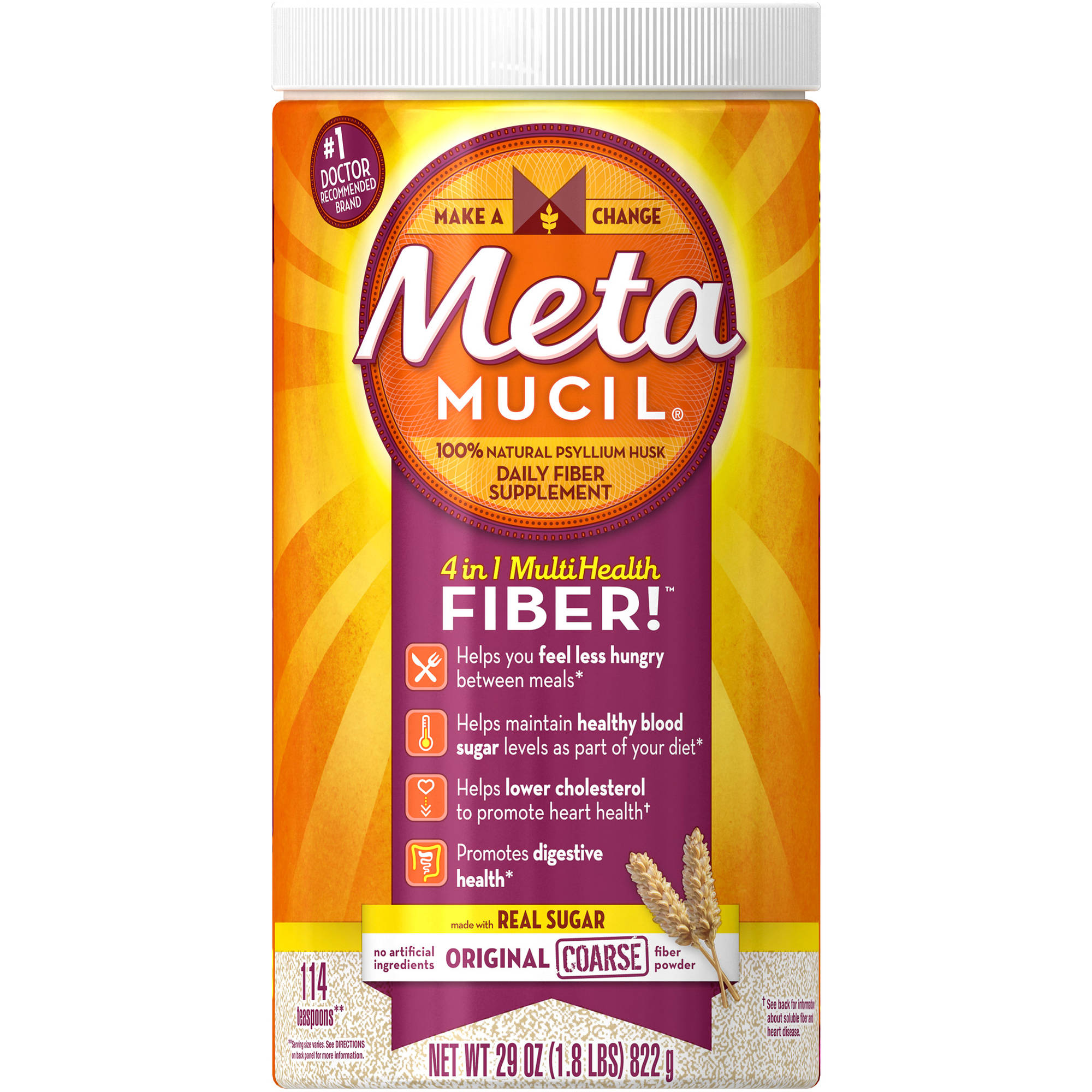 Metamucil 100% Natural Psyllium Husk Daily Fiber Supplement, 114 doses, 29 oz