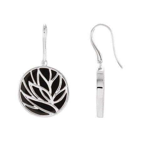 Sterling Floral Earrings - Genuine Onyx Earrings in Sterling Silver