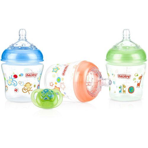 Nuby 3-Pack Natural Touch 6-oz Printed Baby Bottles with Comfort Orthodontic Pacifier, Neutral, BPA-Free