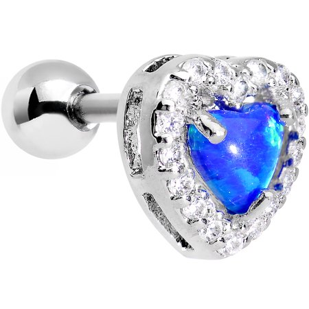 Body Candy Stainless Steel Iridescent Blue Heart Tragus Cartilage Earring 16 Gauge ()