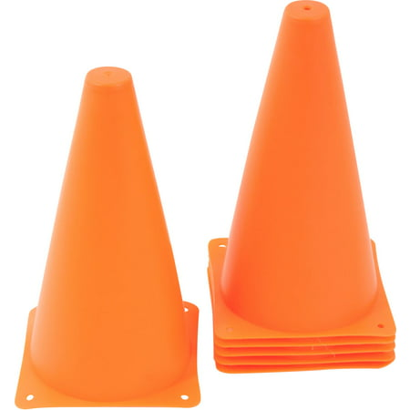 Plastic Cone - 6 pack - Sports Training Gear By Trademark Innovations (9 Inch, Orange)