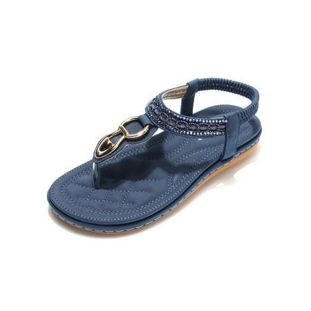 900742c24f46bb Meigar - Meigar Women Summer Bohemia Slippers Flip Flops Lady Flat Sandals  Beach Thong Shoes - Walmart.com
