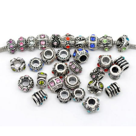 Ten (10) of Assorted Crystal Rhinestone Beads Charms Spacers Beads. Compatible With Most Major Charm Bracelets.