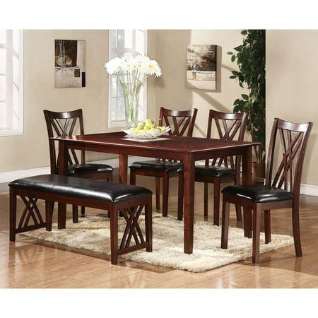 Homelegance Dining Table Set - Homelegance Brooksville 6 Piece Dining Set - Warm Cherry