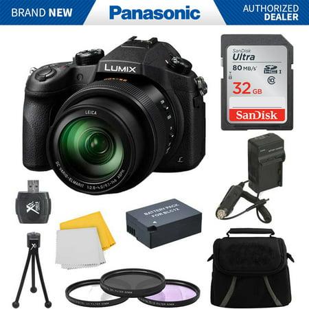 panasonic lumix dmc-fz1000 digital camera 32gb accessory bundle includes: lumix dmc-fz1000 4k qfhd/hd 16x long zoom digital camera (black), carry case, 32gb high speed memory card,  spare blc12 batter