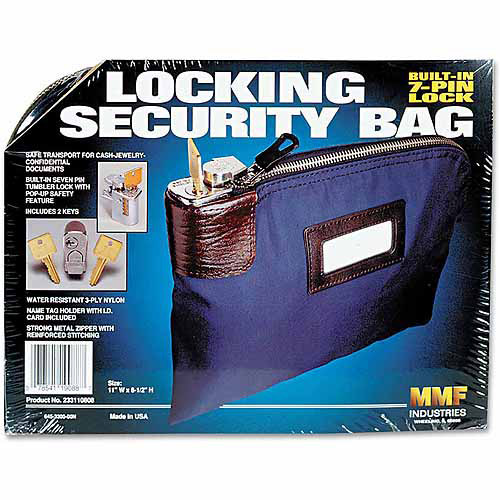 "MMF Industries Seven-Pin Security/Night Deposit Bag with 2"" Keys, Nylon, 8.5"" x 11"", Navy"