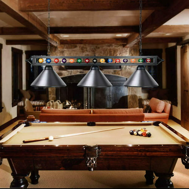 Wellmet Billiard 3 Lights Hanging Snooker Pool Table Lights Black