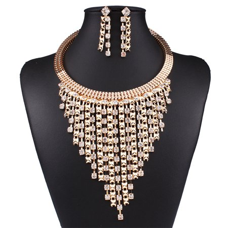 2pcs/set Fashionable Women Multi-layer Fringed Diamond Necklace Earrings