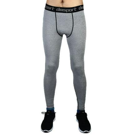 Unique Bargains - Men Sports Compression Base Layer Tights Running Long Pants Gray W38 - Walmart.com