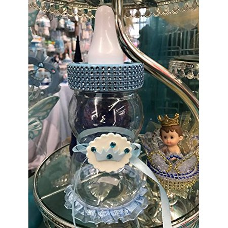 Little Prince Crown Fillable Baby Shower Bottle Centerpiece Cake Topper Decoration