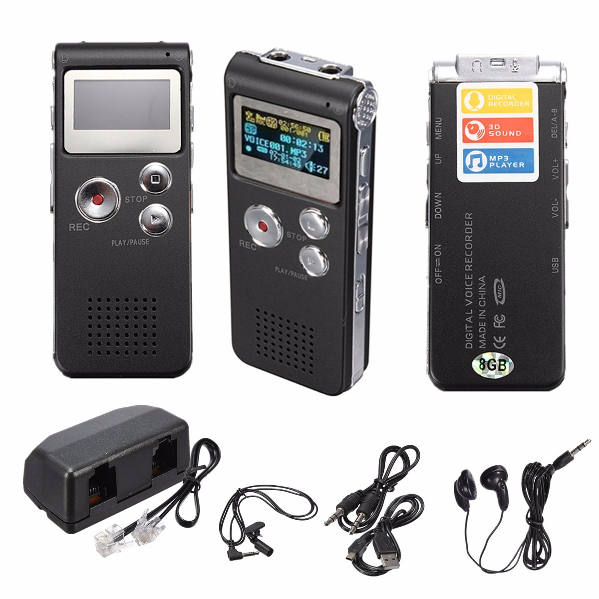 8GB Rechargeable 3D HD Sound Digital Audio Voice Recorder Dictaphone Telephone MP3 Player Meeting Built in Microphone Speaker Earphone 650 Hours Noise Reduction