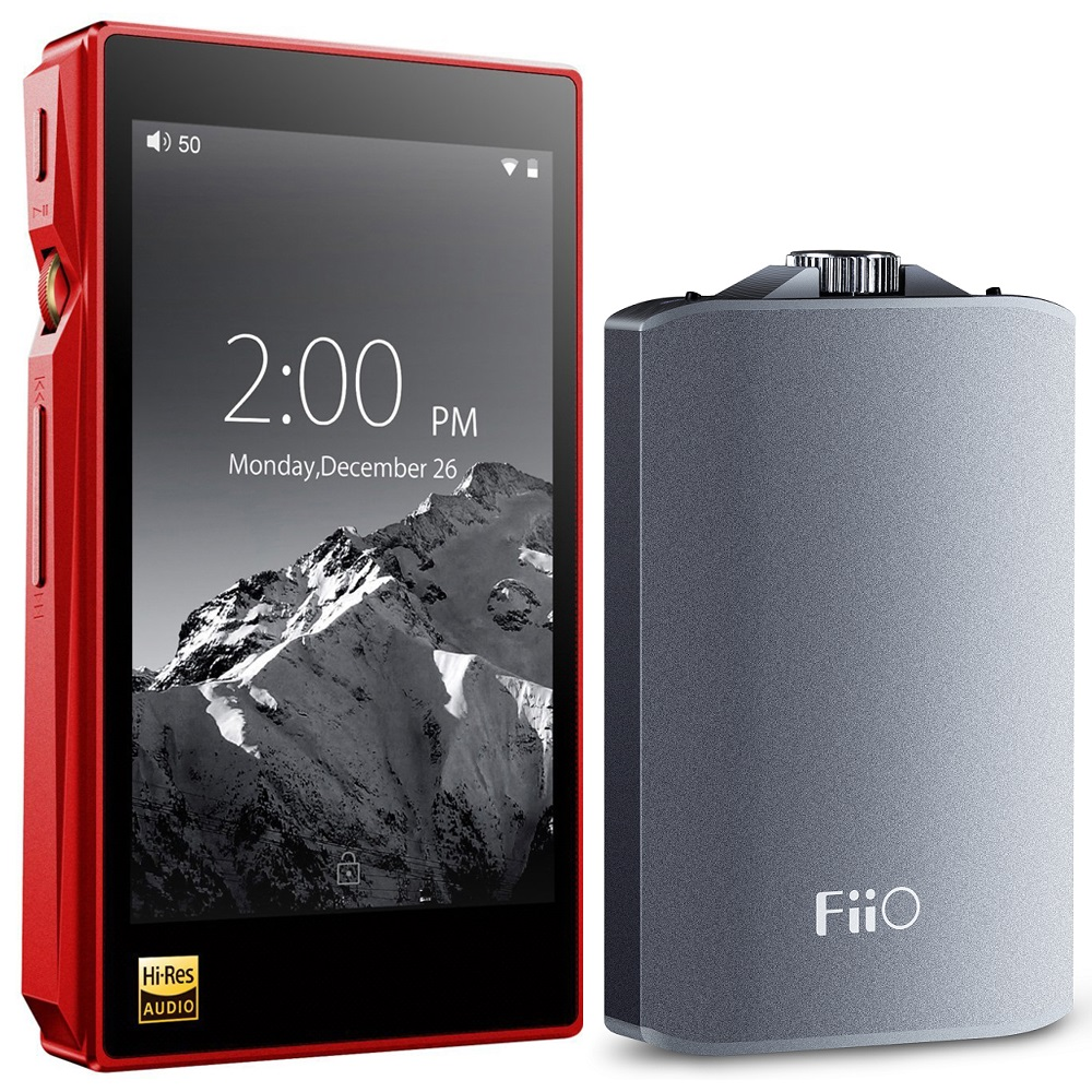 FiiO X5-III High Resolution Lossless Music Player (Red) w/ Amplifier Bundle Includes, FiiO A3 Portable Headphone Amplifier (Titanium) and Hard Carrying Case