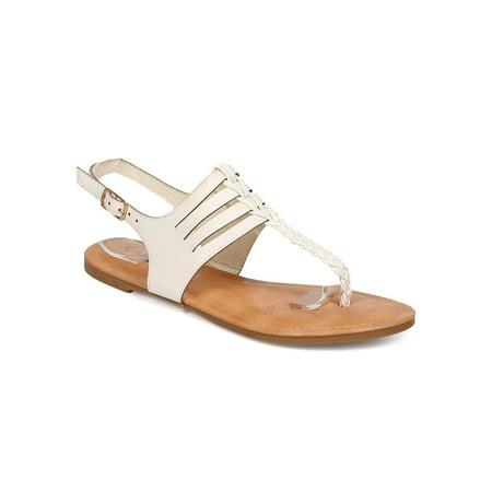 New Women DbDk Special-13 Leatherette Slit Slingback Braided Thong Sandal Size