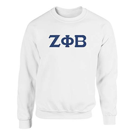 Zeta Phi Beta Embroidered Twill Letter Crew Neck Sweatshirt White Extra (Greek Embroidered Sweatshirts)