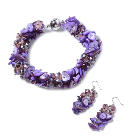 Shell Clear Beads Earrings and Magnetic Clasp Bracelet Jewelry for Women 8