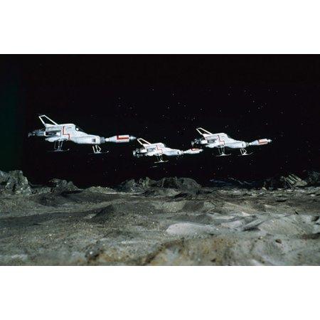 UFO three Interceptors above Moon base Gerry Anderson TV show 24x36 Poster ()