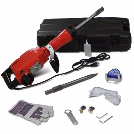 GHP 2200W 120V 1900RPM Swivel Side Handle Jack Hammer with Bull Point & Flat Chisel
