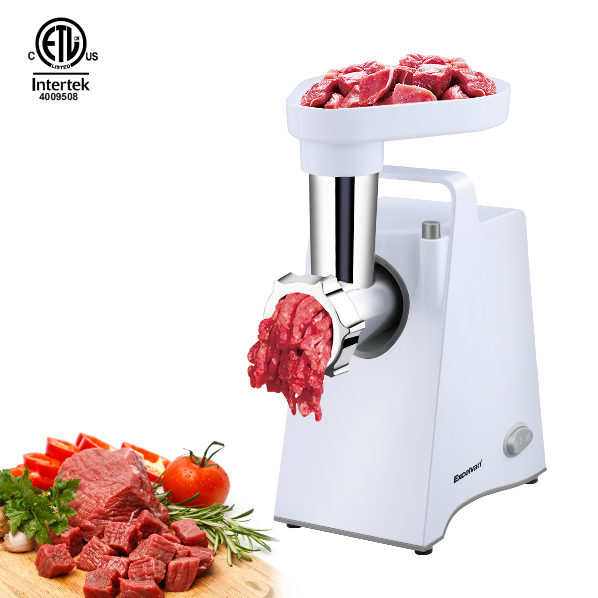 Excelvan Meat Grinder Electric Stainless Steel Sausage Maker, Meat Mincer Sausage Stuffer with Grinding Plates for Home Use (White)