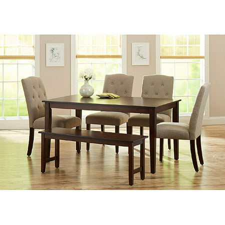 Better Homes and Gardens 6-Piece Dining Set with Upholstered Chairs & Bench, Mocha/Beige