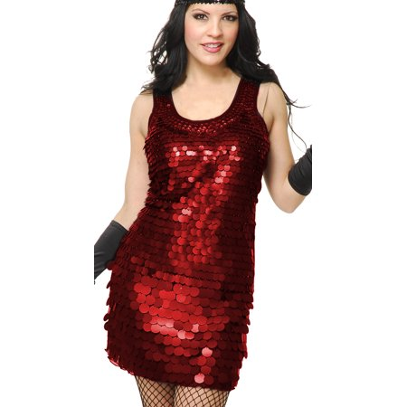 Womens Red Roaring 20s Big-Sequin Flapper Costume Dress - Red Flapper Dress Costume