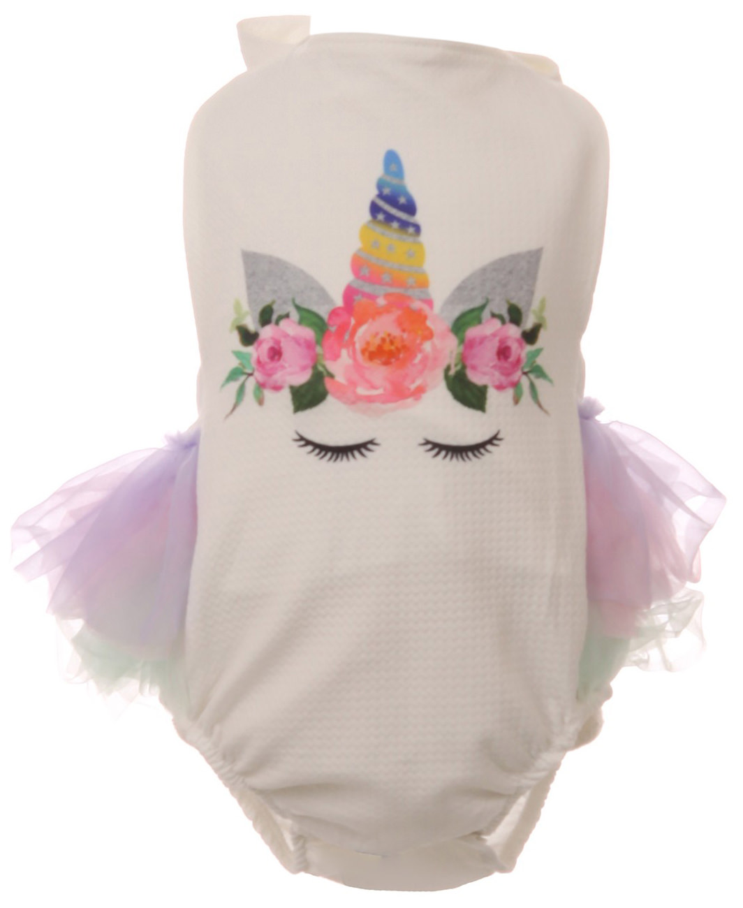 Baby Girls Halter Neck Unicorn Floral Tulle Party Onesie Romper Bodysuits Lavender 3M-6M (R243-05N)