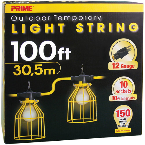 Prime 12/3 SJTW Temporary Light Strip With Metal Cages, 100-Feet