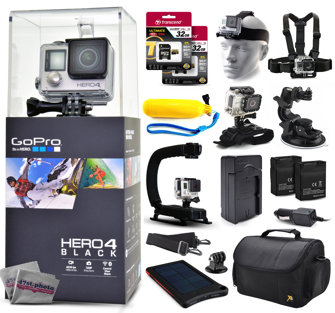 Buy GoPro Hero 4 HERO4 Black CHDHX-401 with Two 32GB Ultra Memory + Solar Charger + Headstrap + Chest Harness + Floaty... by GoPro