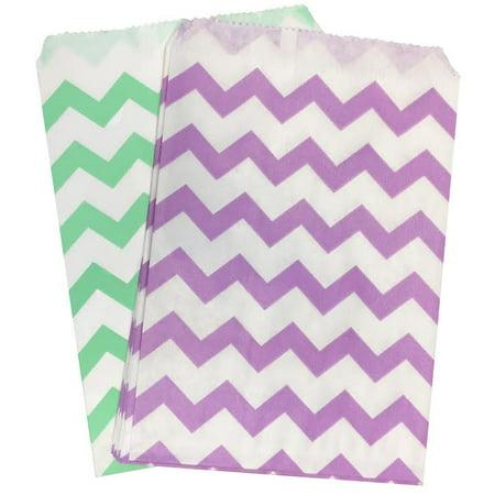 Wedding Treats (Lilac/Lavender and Mint Green Chevron Paper Treat Sacks 48)