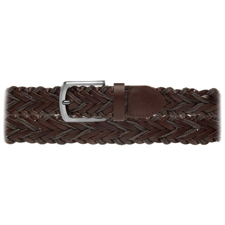 DG Hill Men's Braided Leather Belt For Dress Work Or Casual Brushed Finish Metal