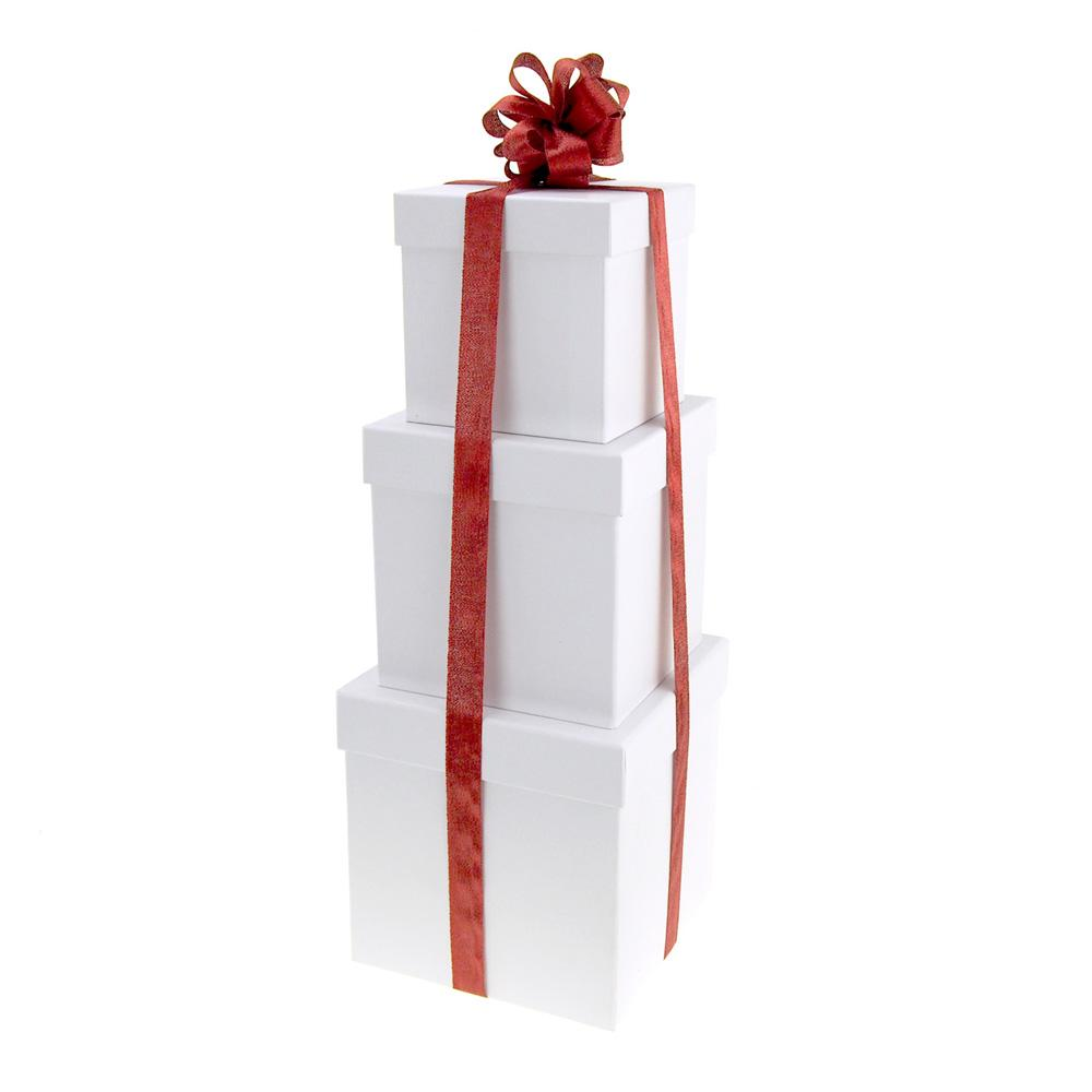 5 6 and 7-Inch 3-Piece Holiday Round Nested Gift Boxes