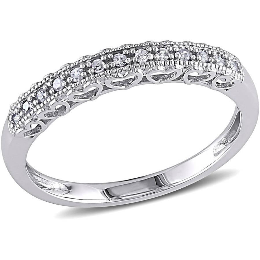 Miabella Diamond-Accent 10kt White Gold Semi-Eternity Anniversary Ring