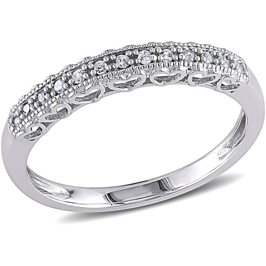 Miabella Diamond-Accent 10kt White Gold Semi-Eternity Anniversary Ring