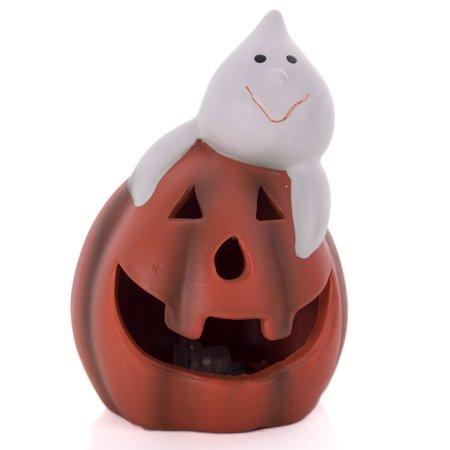 7' Halloween Pumpkin Bucket - Ceramic Pumpkin Smile Ghost Light-Up  5
