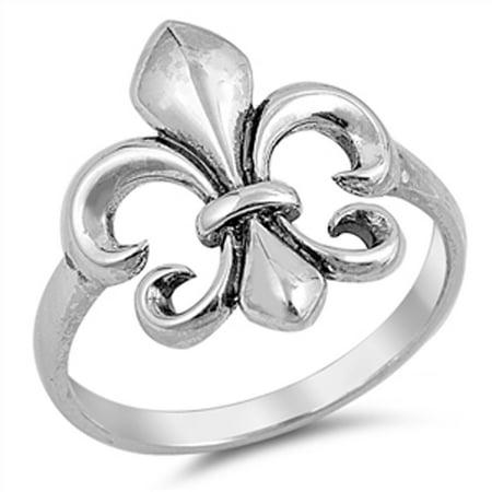 Sterling Silver Stunning Women's Fleur De Lis Ring (Sizes 4-10) (Ring Size 10) - Fleur De Lis Wedding Rings