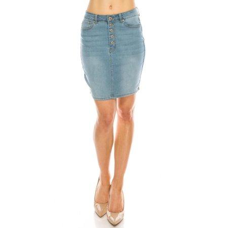 Salt Tree Women's Wax Vintage Basic Denim Pencil Knee Skirt