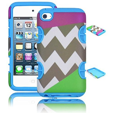 Bastex Hybrid Hard Case for Apple Ipod Touch 4, 4th Generation - Sky Blue Silicone with Purple & Green Chevron Pattern Shell Cover